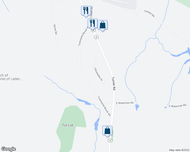 map of restaurants, bars, coffee shops, grocery stores, and more near 48 Chickadee Drive in Auburn