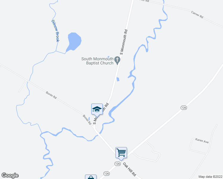 map of restaurants, bars, coffee shops, grocery stores, and more near 127 South Monmouth Road in Monmouth