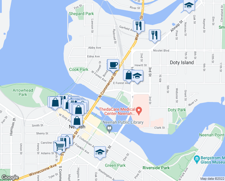map of restaurants, bars, coffee shops, grocery stores, and more near 131 East North Water Street in Neenah