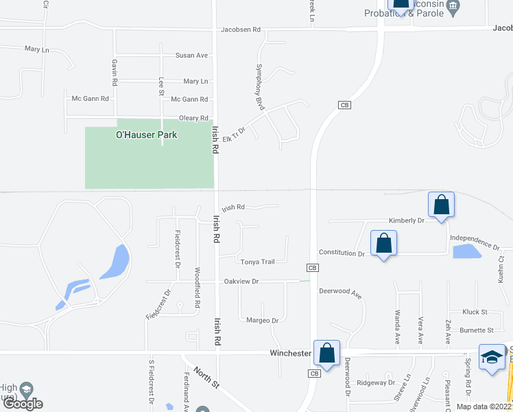 map of restaurants, bars, coffee shops, grocery stores, and more near 905 Irish Road in Neenah