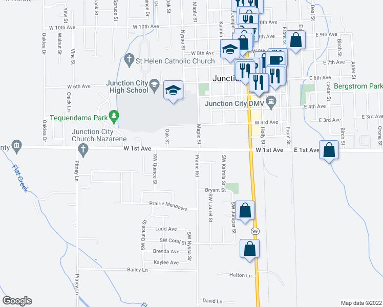 map of restaurants, bars, coffee shops, grocery stores, and more near 94018 Prairie Road in Junction City