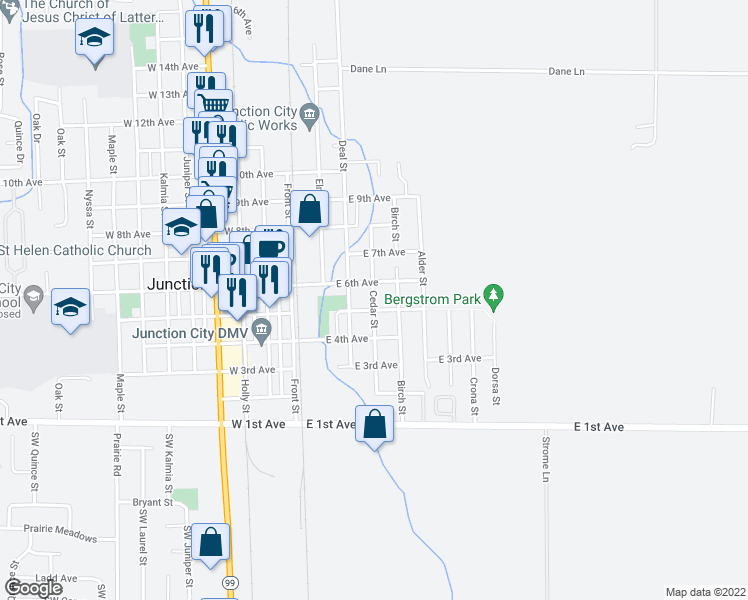 map of restaurants, bars, coffee shops, grocery stores, and more near 390 East 5th Avenue in Junction City
