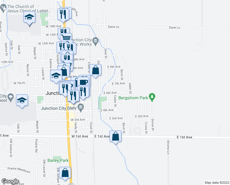 map of restaurants, bars, coffee shops, grocery stores, and more near 675-695 Cedar Street in Junction City