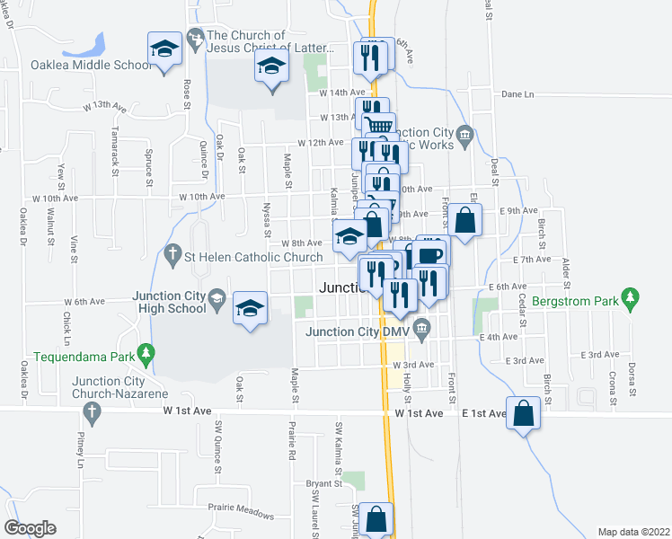 map of restaurants, bars, coffee shops, grocery stores, and more near 601-671 West 7th Avenue in Junction City