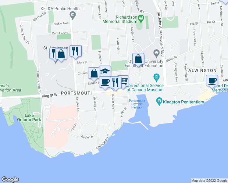 map of restaurants, bars, coffee shops, grocery stores, and more near 36 Grange Street in Kingston