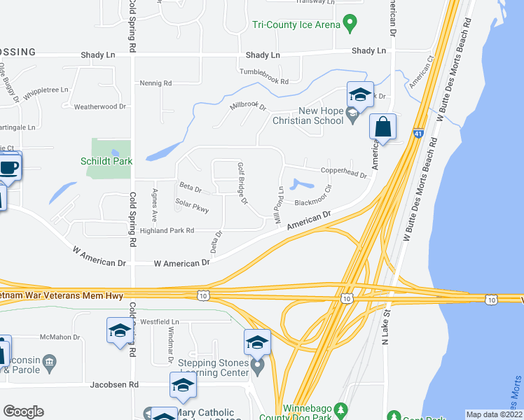 map of restaurants, bars, coffee shops, grocery stores, and more near 1681 Golf Bridge Drive in Neenah