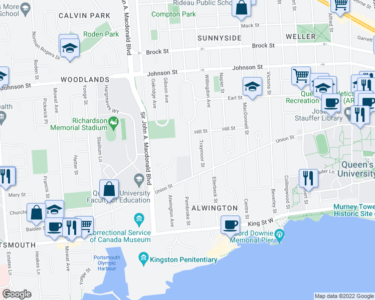 map of restaurants, bars, coffee shops, grocery stores, and more near 62 College Street in Kingston