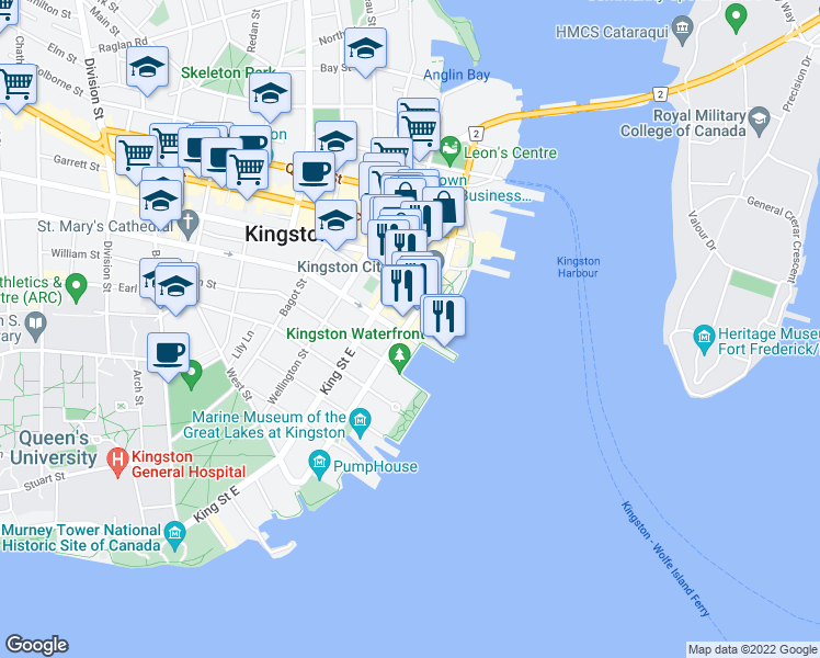 map of restaurants, bars, coffee shops, grocery stores, and more near 181 Ontario Street in Kingston