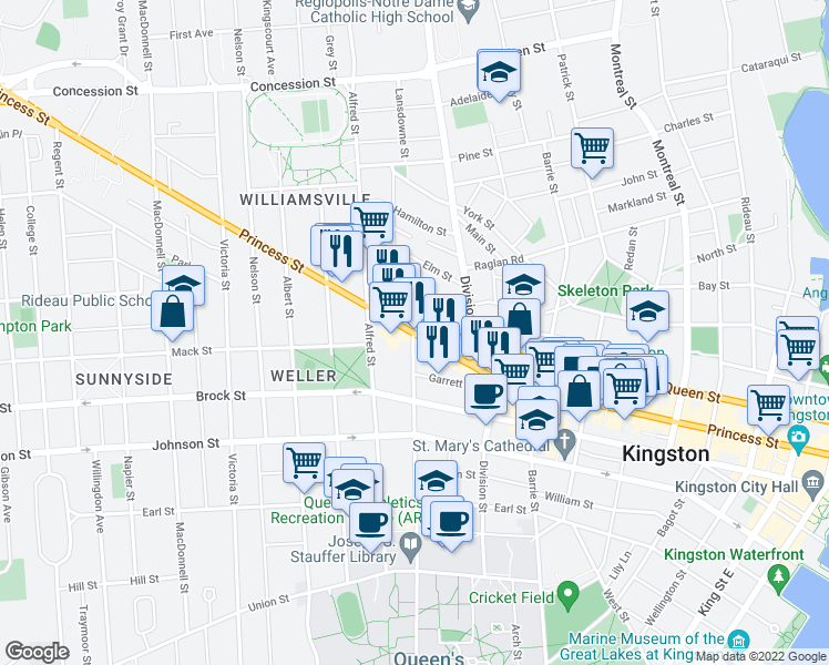 map of restaurants, bars, coffee shops, grocery stores, and more near 495 Princess Street in Kingston