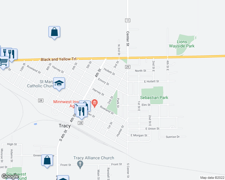 map of restaurants, bars, coffee shops, grocery stores, and more near 487 2nd Street in Tracy