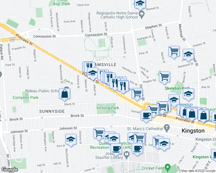 map of restaurants, bars, coffee shops, grocery stores, and more near 499 Frontenac Street in Kingston