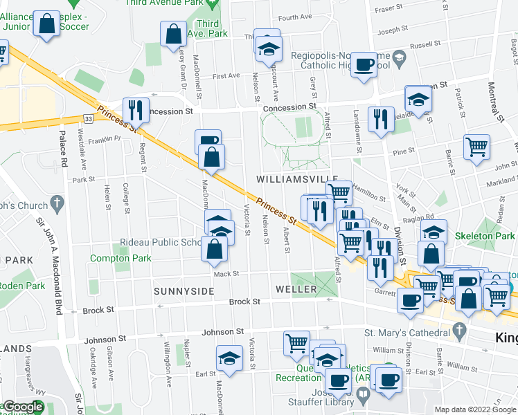 map of restaurants, bars, coffee shops, grocery stores, and more near 652 Princess Street in Kingston