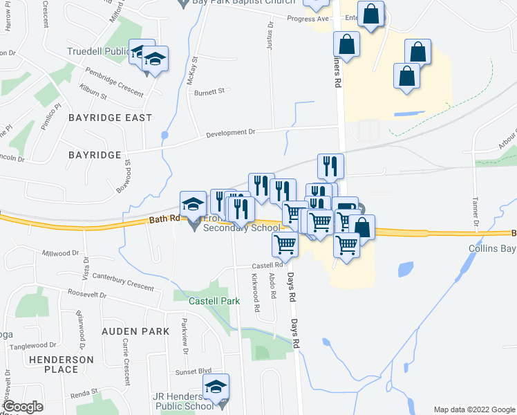 map of restaurants, bars, coffee shops, grocery stores, and more near 1736 Bath Road in Kingston