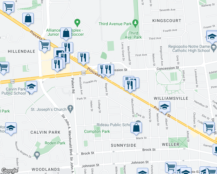map of restaurants, bars, coffee shops, grocery stores, and more near 315 Regent Street in Kingston