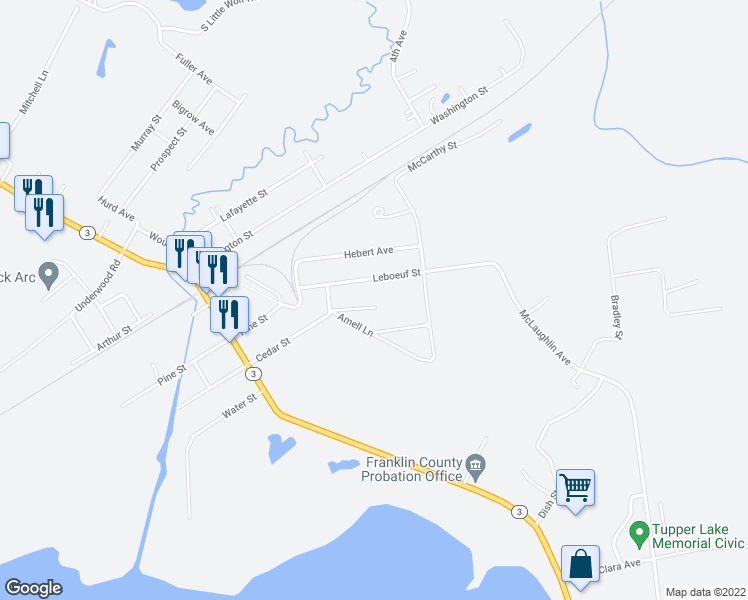 map of restaurants, bars, coffee shops, grocery stores, and more near 1 Woodland Drive in Tupper Lake