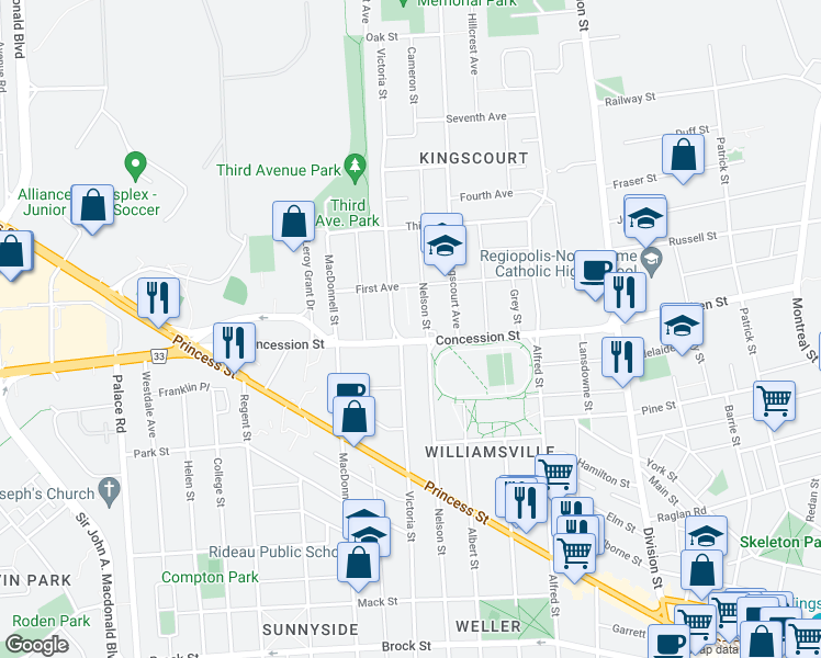 map of restaurants, bars, coffee shops, grocery stores, and more near 687 Victoria Street in Kingston