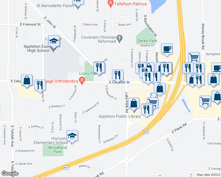 map of restaurants, bars, coffee shops, grocery stores, and more near 8 Brighton Circle in Appleton