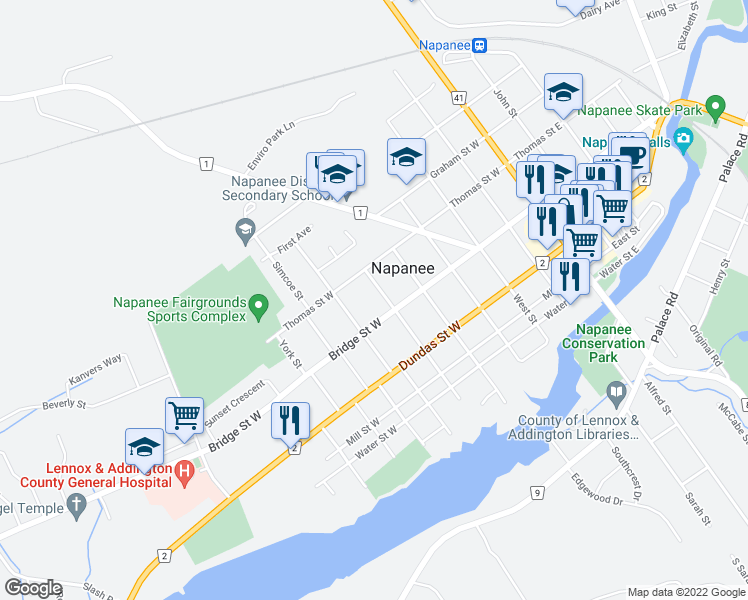 map of restaurants, bars, coffee shops, grocery stores, and more near in Napanee