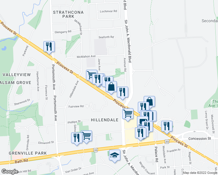 map of restaurants, bars, coffee shops, grocery stores, and more near 2502 Elizabeth Avenue in Kingston