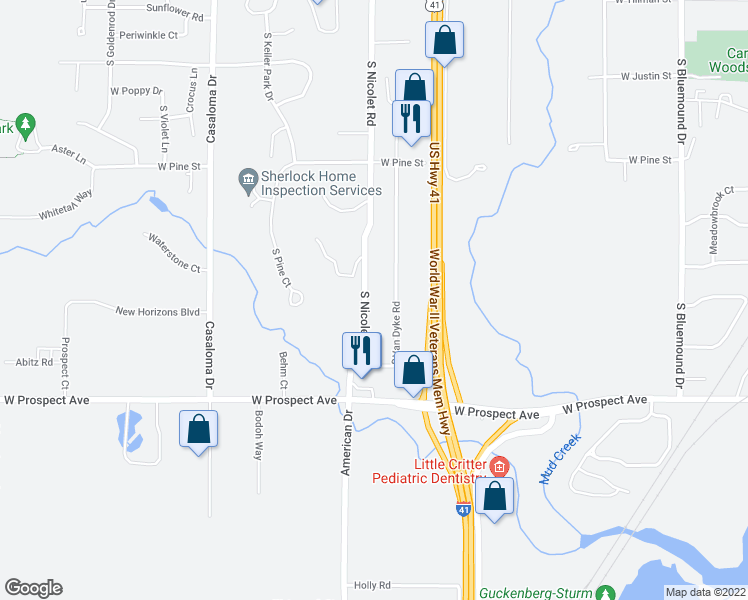 map of restaurants, bars, coffee shops, grocery stores, and more near 1410-1712 South Nicolet Road in Appleton