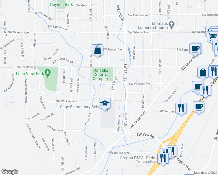 map of restaurants, bars, coffee shops, grocery stores, and more near 2825 Southwest Volcano Court in Redmond