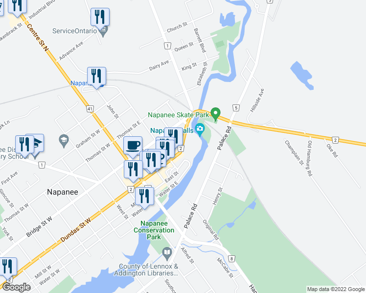 map of restaurants, bars, coffee shops, grocery stores, and more near 88 Dundas Street East in Napanee
