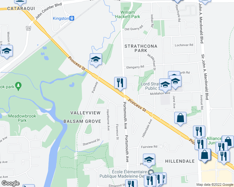 map of restaurants, bars, coffee shops, grocery stores, and more near 1399 Princess Street in Kingston