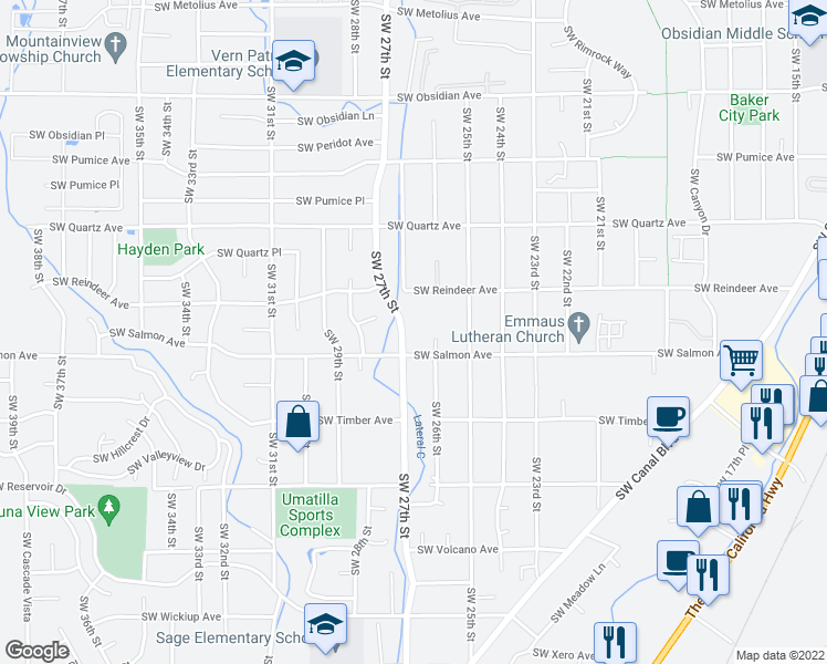 map of restaurants, bars, coffee shops, grocery stores, and more near 2673 Southwest Salmon Avenue in Redmond
