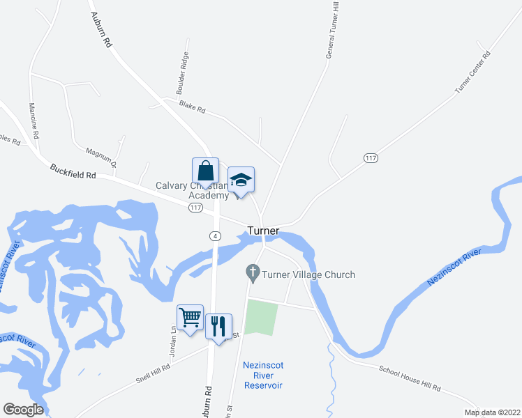 map of restaurants, bars, coffee shops, grocery stores, and more near 4 General Turner Hill Road in Turner