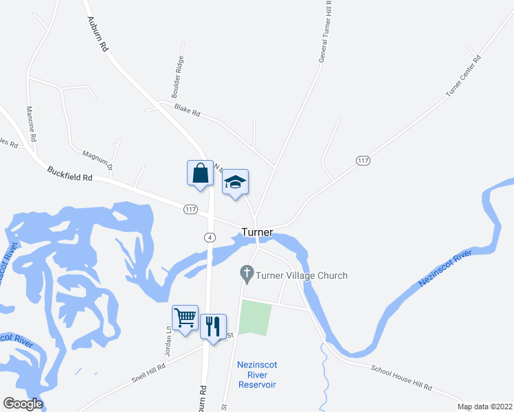 map of restaurants, bars, coffee shops, grocery stores, and more near 8 General Turner Hill Road in Turner