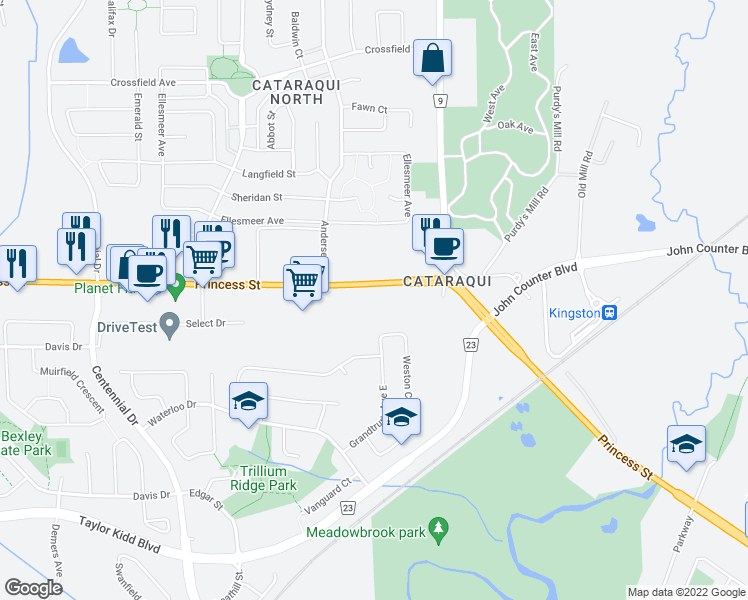 map of restaurants, bars, coffee shops, grocery stores, and more near 2287 Princess Street in Kingston