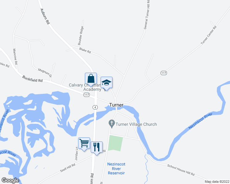map of restaurants, bars, coffee shops, grocery stores, and more near 10 General Turner Hill Road in Turner