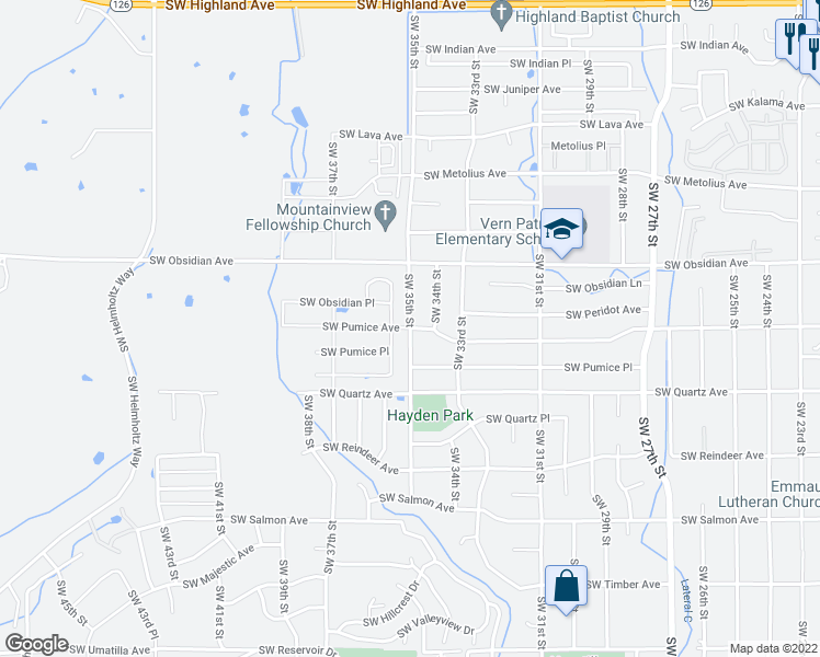 map of restaurants, bars, coffee shops, grocery stores, and more near 3755 Southwest Pumice Avenue in Redmond
