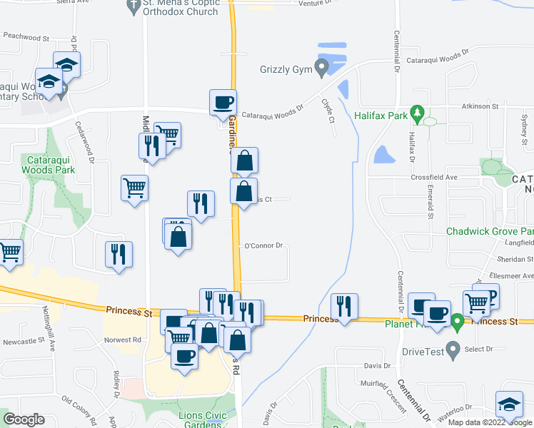 map of restaurants, bars, coffee shops, grocery stores, and more near 632 Norris Court in Kingston