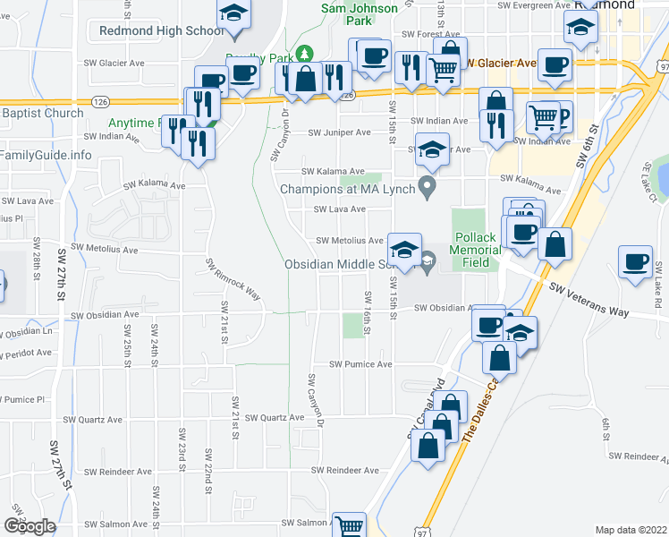 map of restaurants, bars, coffee shops, grocery stores, and more near 1357 Southwest 17th Street in Redmond