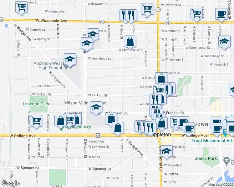 map of restaurants, bars, coffee shops, grocery stores, and more near 1012 West Packard Street in Appleton