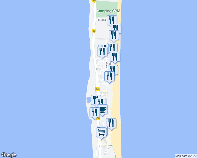 map of restaurants, bars, coffee shops, grocery stores, and more near Bulevardul Mamaia in Constanța