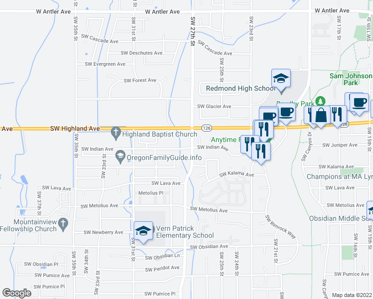 map of restaurants, bars, coffee shops, grocery stores, and more near 2750 Southwest Indian Avenue in Redmond