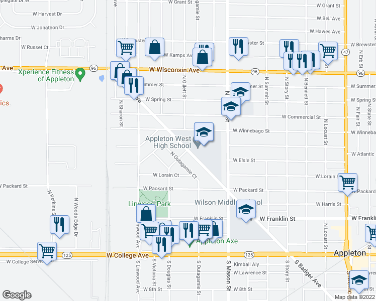 map of restaurants, bars, coffee shops, grocery stores, and more near North Badger Avenue in Appleton