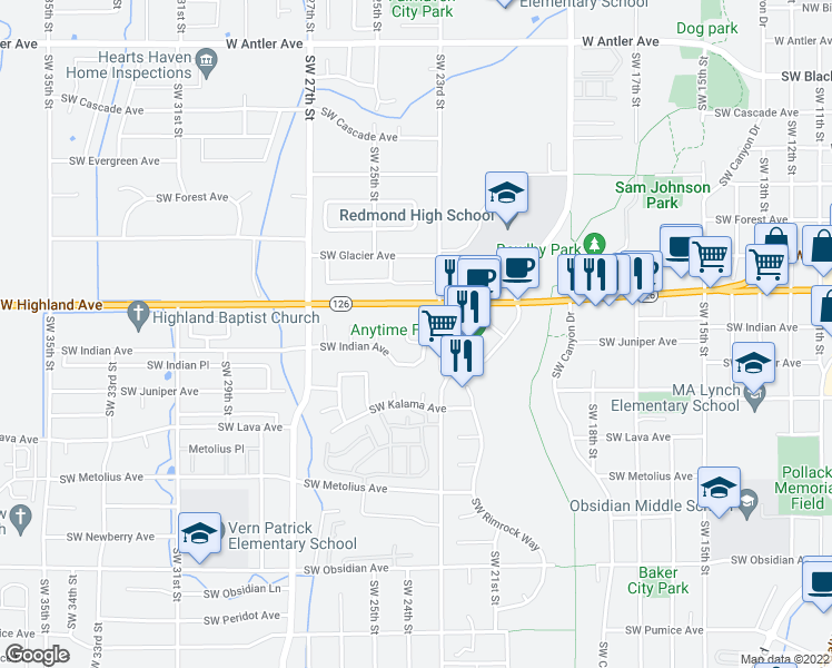 map of restaurants, bars, coffee shops, grocery stores, and more near 857 Southwest 23rd Court in Redmond