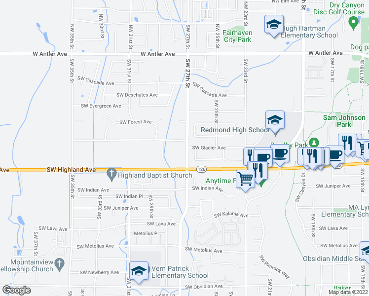 map of restaurants, bars, coffee shops, grocery stores, and more near 2704 Southwest Glacier Avenue in Redmond