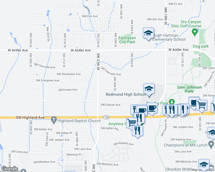 map of restaurants, bars, coffee shops, grocery stores, and more near 2552 Southwest Evergreen Avenue in Redmond