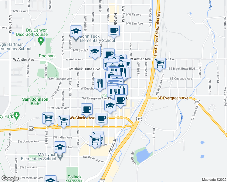 map of restaurants, bars, coffee shops, grocery stores, and more near 405 Southwest 6th Street in Redmond