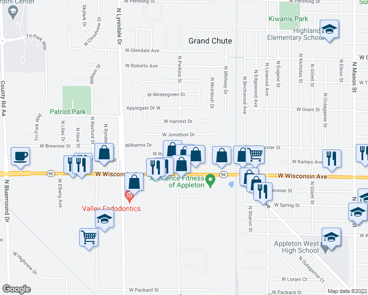 map of restaurants, bars, coffee shops, grocery stores, and more near 2130 West Russet Court in Appleton