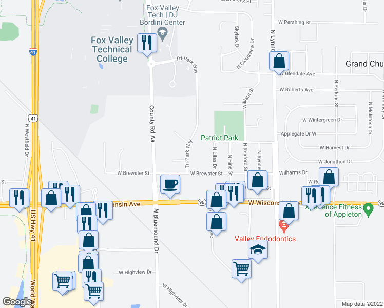 map of restaurants, bars, coffee shops, grocery stores, and more near 1520 Tri-Park Way in Appleton