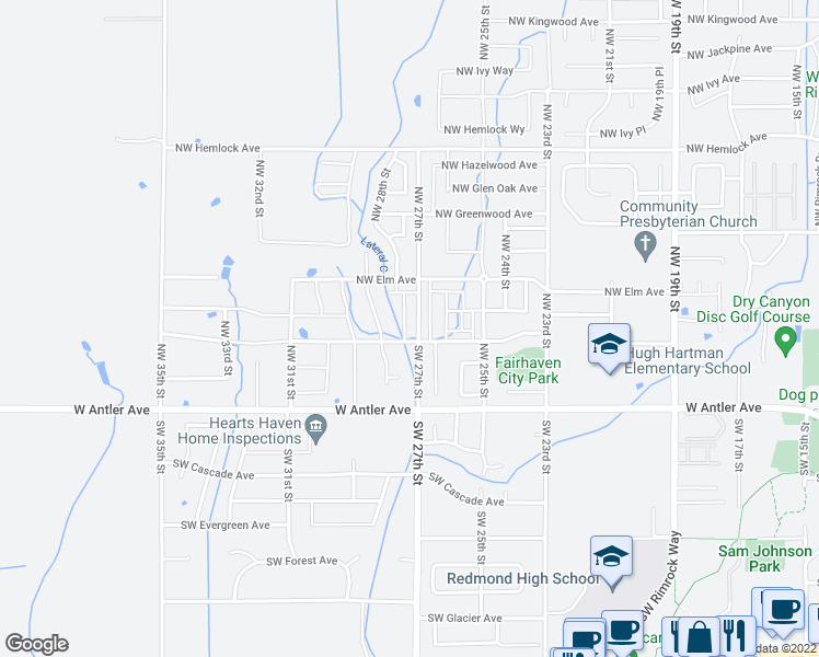 map of restaurants, bars, coffee shops, grocery stores, and more near 343 Northwest 27th Street in Redmond