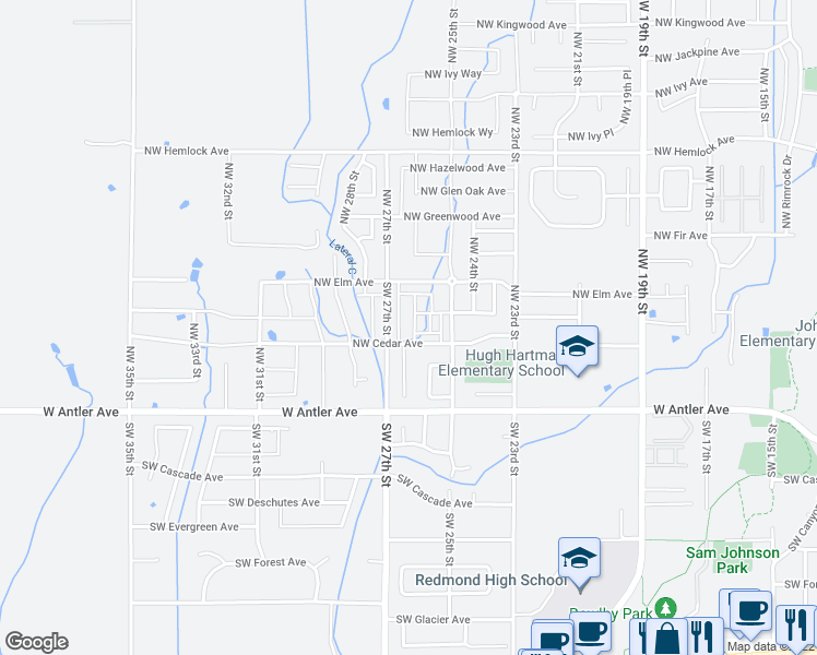 map of restaurants, bars, coffee shops, grocery stores, and more near 2641 Northwest Cedar Avenue in Redmond
