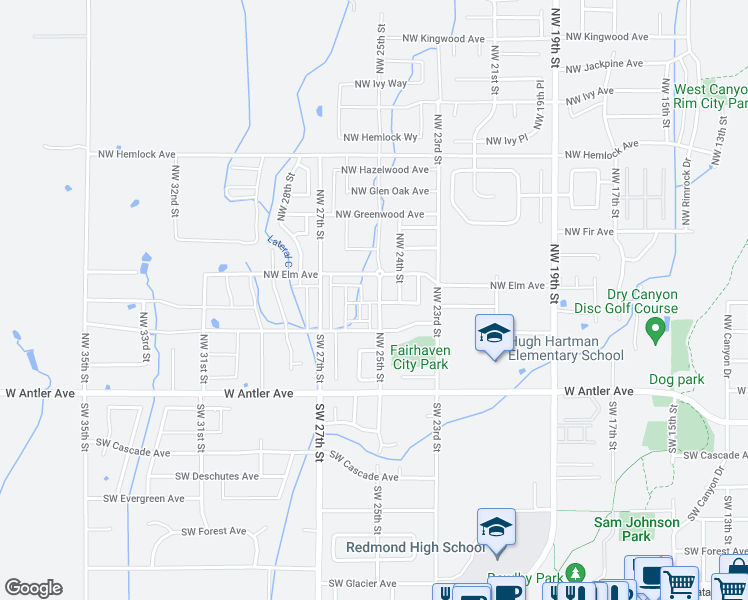 map of restaurants, bars, coffee shops, grocery stores, and more near 405 Northwest 25th Street in Redmond