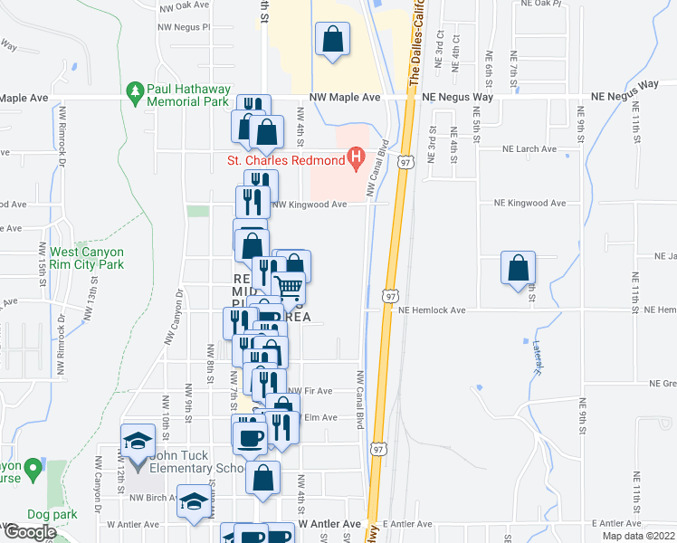 map of restaurants, bars, coffee shops, grocery stores, and more near 933 Northwest Canal Boulevard in Redmond