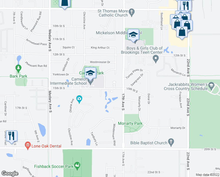 map of restaurants, bars, coffee shops, grocery stores, and more near 1647 15th Street South in Brookings